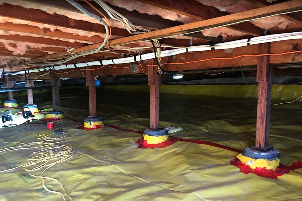 Crawl space encapsulation against mold, allergies, and asthma